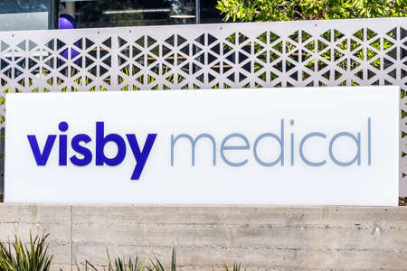 Sep 18, 2020 San Jose / CA / USA - Visby Medical logo at their Silicon Valley HQ; Visby Medical Inc is a company that develops PCR-based diagnostic tests for the detection of infectious diseases Editorial