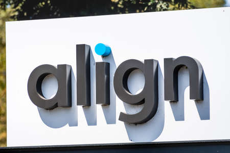 Sep 18, 2020 San Jose / CA / USA - Align logo at their headquarters in Silicon Valley; Align Technology is a manufacturer of 3D digital scanners and the Invisalign clear aligners used in orthodontics Banco de Imagens - 164518895