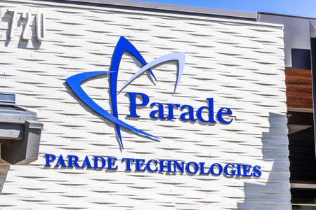 Sep 18, 2020 San Jose / CA / USA - Parade Technologies logo at their headquarters in Silicon Valley; Parade Technologies is a Taiwanese fabless semiconductor company