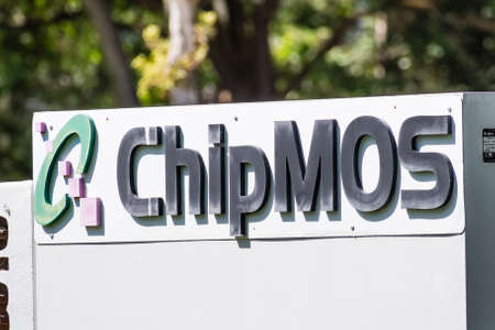 Sep 18, 2020 San Jose / CA / USA - ChipMOS logo at their headquarters in Silicon Valley; ChipMOS Technologies Inc is a Taiwanese company that offers semiconductor testing and packaging solutions