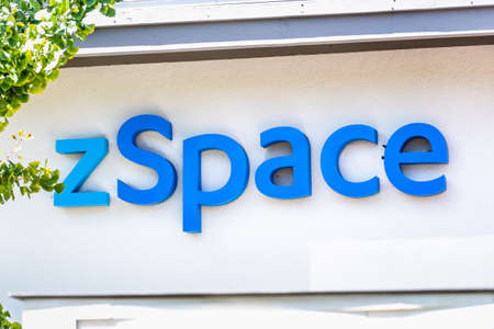 Sep 18, 2020 San Jose / CA / USA - zSpace logo at their headquarters in Silicon Valley; zSpace Inc develops technology that combines elements of virtual and augmented reality Editorial