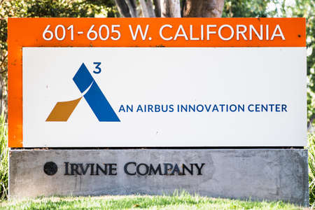 Oct 5, 2020 Sunnyvale / CA / USA - Acubed logo at their headquarters in Silicon Valley; Acubed is the innovation center of Airbus Editorial