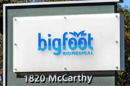 Sep 24, 2020 Milpitas / CA / USA - Bigfoot Biomedical logo at their headquarters in Silicon Valley; Bigfoot Biomedical Inc. is a medical technology startup