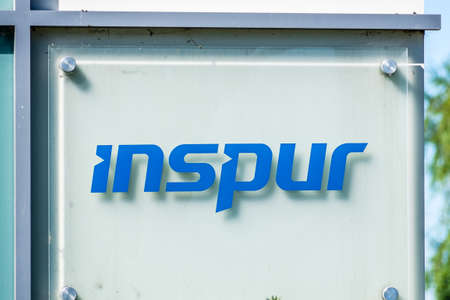 Sep 24, 2020 Milpitas / CA / USA - Inspur logo at their headquarters in Silicon Valley; Inspur Group provides data center and cloud computing solutions worldwide