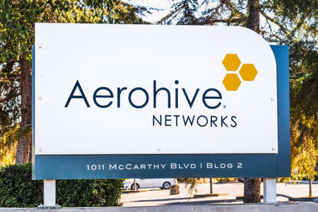 Sep 24, 2020 Milpitas / CA / USA - Aerohive Networks logo at their headquarters in Silicon Valley; Aerohive Networks Inc is a computer networking equipment company, subsidiary of Extreme Networks Editorial