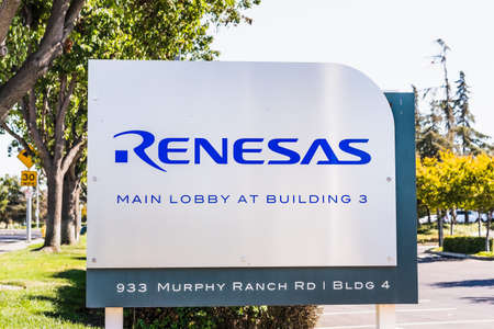 Sep 24, 2020 Milpitas / CA / USA - Renesas logo at their headquarters in Silicon Valley; Renesas Electronics Corporation is a Japanese semiconductor manufacturer