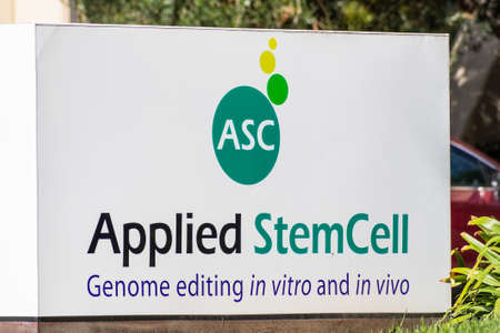 Sep 24, 2020 Milpitas / CA / USA - Applied StemCell logo at the Silicon Valley HQ; Applied StemCell Inc is a biotechnology company providing animal and human cell line models for drug development