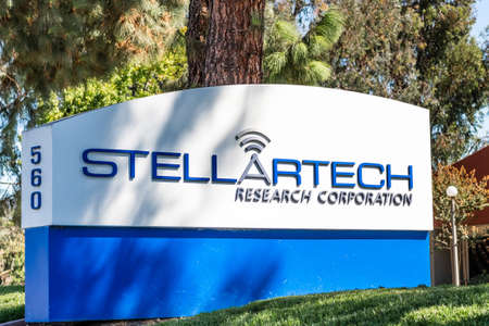 Sep 24, 2020 Milpitas / CA / USA - Stellartech logo at their headquarters in Silicon Valley; Stellartech Research Corporation develops electronic devices