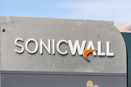 Sep 24, 2020 Milpitas / CA / USA - SonicWall logo at their headquarters in Silicon Valley; SonicWALL Inc manufactures network security and data protection products