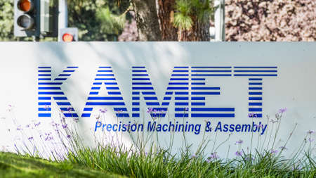 Sep 24, 2020 Milpitas / CA / USA - KAMET logo at the Silicon Valley headquarters; KAMET provides precision machining, engineering, assembly and supply chain management services for various industries Editorial