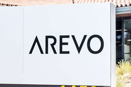 Sep 24, 2020 Milpitas / CA / USA - Arevo logo at their headquarters in Silicon Valley; Arevo, Inc. develops 3D printing technology