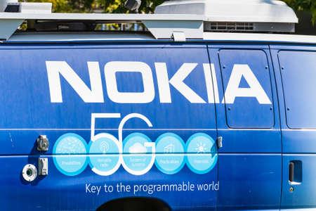 Sep 26, 2020 Mountain View / CA / USA - Nokia 5G logo printed on a van parked at the Company's Silicon Valley campus; Nokia is offering 5G services to market operators and other clients
