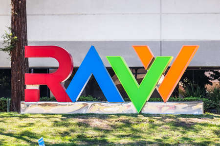 Sep 24, 2020 Milpitas / CA / USA - RAVV logo at heir headquarters in Silicon Valley; RAVV is an advance technology group that focuses on intercontinental high-tech incubation and investments Editorial