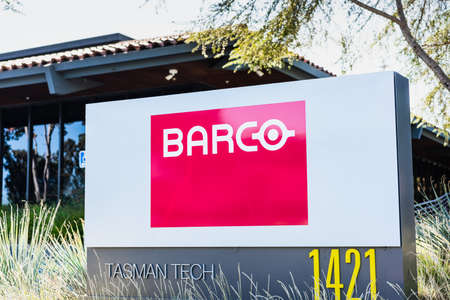 Sep 24, 2020 Milpitas / CA / USA - Barco logo at their headquarters in Silicon Valley; Barco NV is a Belgian technology company that specializes in digital projection and imaging technology Editorial