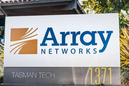 Sep 24, 2020 Milpitas / CA / USA - Array Networks logo at their headquarters in Silicon Valley; Array Networks Inc is an American networking hardware company that develops traffic encryption tools Editorial