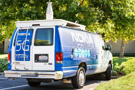 Sep 26, 2020 Mountain View / CA / USA - Nokia van branded with the 5G logo, parked at their Silicon Valley campus; Nokia is offering 5G services to market operators and other clients Editorial