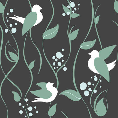 Simple seamless pattern with birds, sterns and leaves. Flat spring pattern with birds and herb. Plant pattern for creative design. Birds, sterns and leaves on grey background.