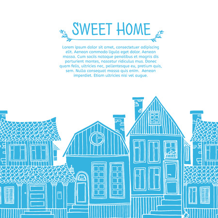blue silhouettes: Template greeting card with place for your text. Frame of blue silhouettes of houses