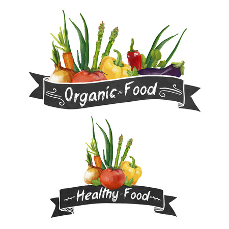 style: Template logo or decoration in retro style. Ribbons and different set of vegetables in a watercolor style. Vector