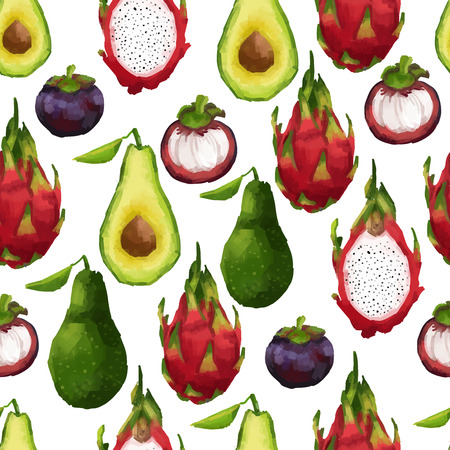Seamless pattern with tropical fruits in watercolor style. Vector
