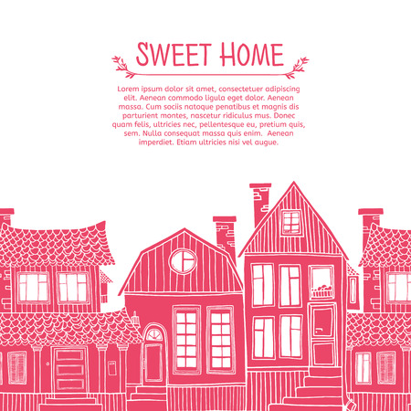 Template greeting card with place for your text. Frame of pink silhouettes of houses Illustration