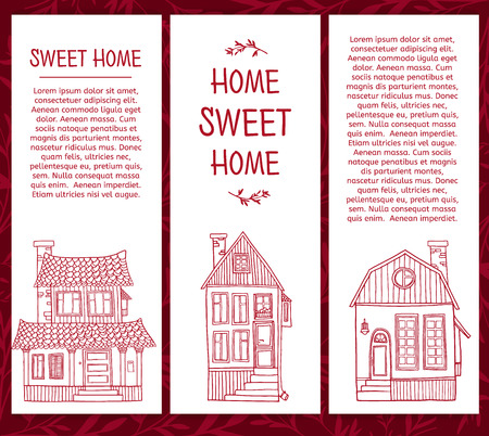 line drawings: Set of templates of cards with line drawings of cute houses. Place for your text. Vector Illustration
