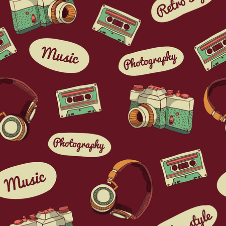 cassette tape: Seamless pattern in retro style. Camera, audio cassette, headphones and text on a dark background. vector. Illustration