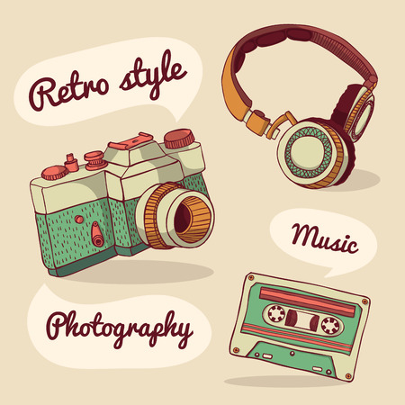 oldie: Set of retro items. Vector illustration. Design template Illustration