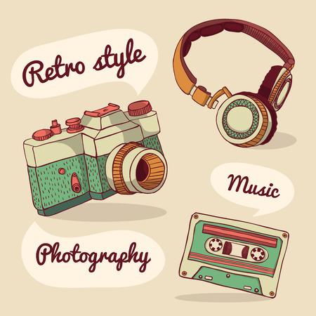 Set of retro items. Vector illustration. Design template Illustration