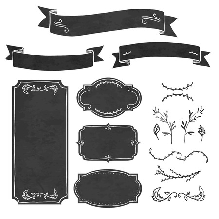 chalk outline: Set of decorative elements in the style of chalk board. Frame, invitations, ribbons, decorations and floral elements. Place for your text. Vector