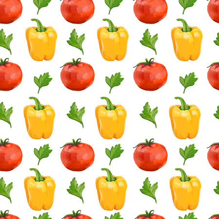 Seamless pattern with tomatoes, yellow pepper and parsley. Vector Illustration