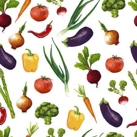 Naadloze patroon met groenten in een aquarel stijl. vector Stock Illustratie