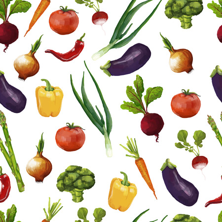 Seamless pattern with vegetables in a watercolor style. vector Çizim