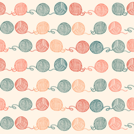 skein: Seamless pattern with balls of yarn. Background in cartoon style. Simple graphics. Vector. Illustration