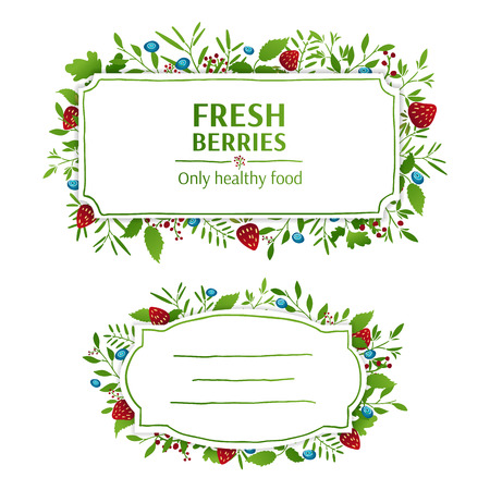 Beautiful banner, card, invitation or label. Spring, summer, autumn background. Strawberries and blueberries elements. Ornament from leaves, berries, twigs, plants, herbs. Vector. Place for your text