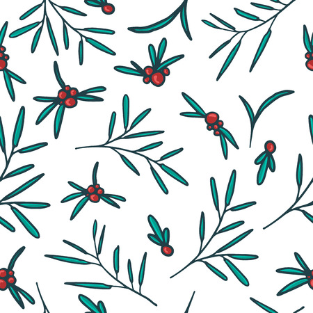 red berries: Seamless pattern with red berries, twigs and leaves. White background. Vector.