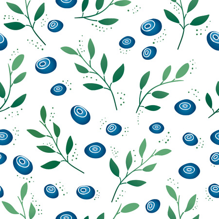 whortleberry: Seamless pattern with blueberries and leaves. Gradient color. Vector.