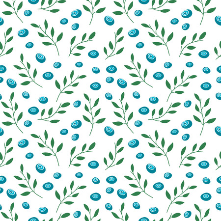 whortleberry: Seamless pattern with blueberries and leaves. Simple colors. Vector.