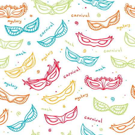 carnival masks: Seamless colorful pattern with carnival masks. Vector. Illustration