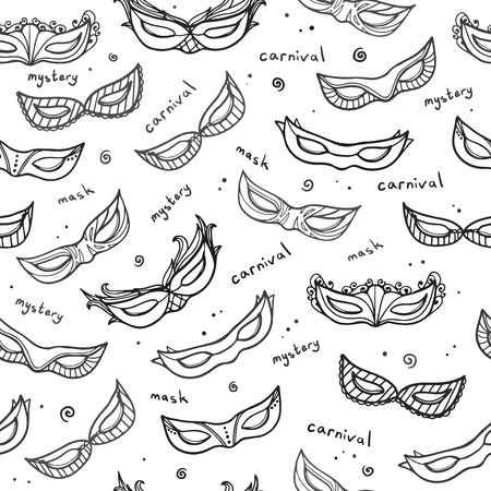 venetian mask: Seamless monochrome pattern with carnival masks. Vector.