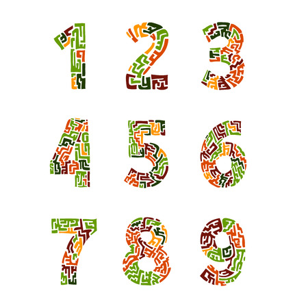 orthographic symbol: Colorful set of numbers in the ethnic style. vector
