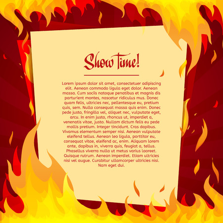fire place: Template posters on a bright red background with frame of fire. Place for your text. vector