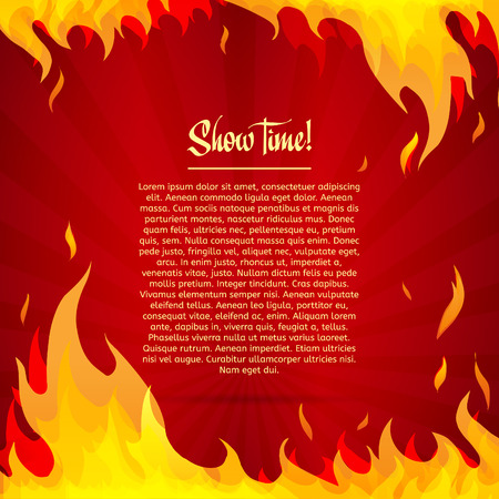 fire show: Template greeting card with red background. Frame of fire. Place for your text. Vector illustration