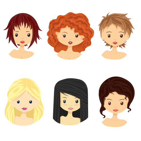 Set of images of girls with different types of hairstyles and faces. Vector illustration, isolated on white. Ilustração