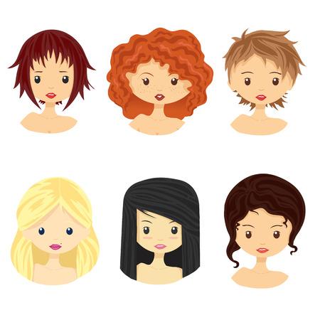 Set van beelden van meisjes met verschillende soorten kapsels en gezichten. Vector illustratie, geïsoleerd op wit.