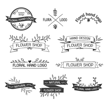 Retro Vintage Insignias  set with floral elements and ribbons. Vector design elements, business signs, identity, labels, badges and objects. Vector.