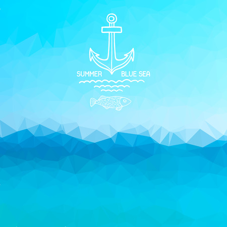 sea: Abstract polygon background. Blue sea background with a pattern anchor and fish. Vector.