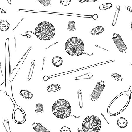 sewing buttons: Seamless pattern with sewing elements. Monochrome color. Vector. Illustration