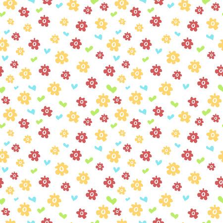 petites fleurs: Seamless pattern avec des fleurs et des coeurs colorés. Style simple. Vector.
