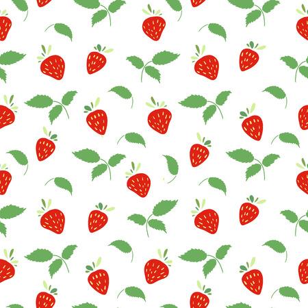 イチゴと葉のシームレスなパターン。単純な色。ベクトル。  イラスト・ベクター素材
